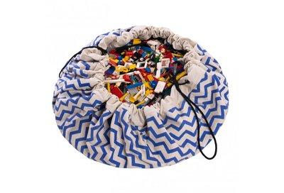 Play & Go Speelgoedkleed en opbergzak - zigzag blauw